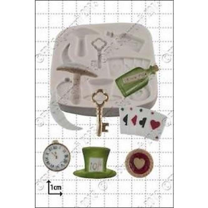 hat deck of cards key silicone mold Wonderland drink me bottle clock