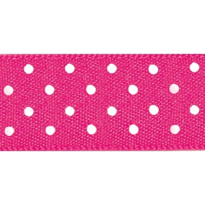 15mm Per Metre Hot Pink Berisfords Polka Dot Ribbon