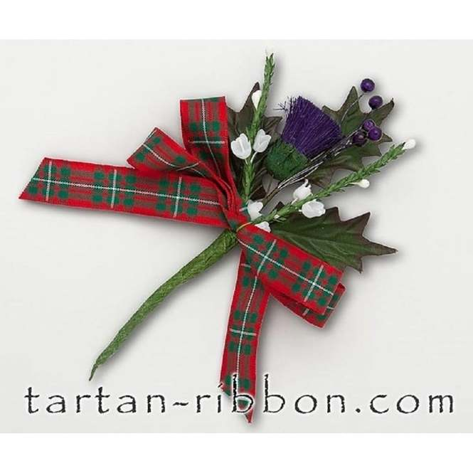 MacGregor Tartan Ribbon With Fir Tree Print Berisfords 16mm Cut Length