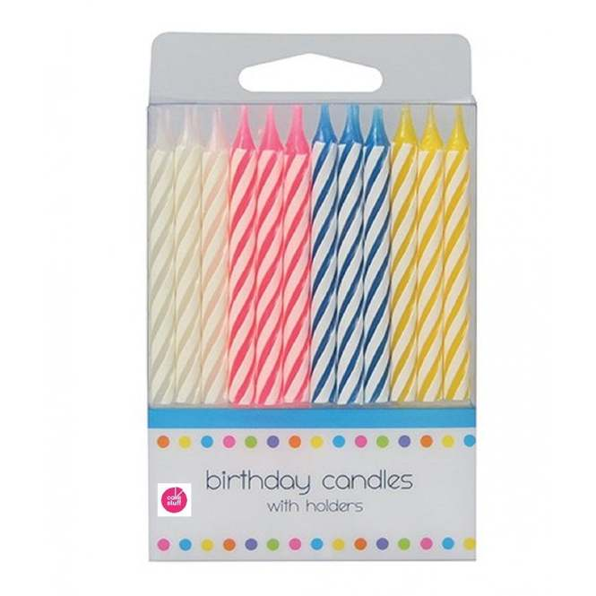 Admirable 24 Pk Traditional Candy Stripe Birthday Cake Candles From Only 1 28 Personalised Birthday Cards Arneslily Jamesorg
