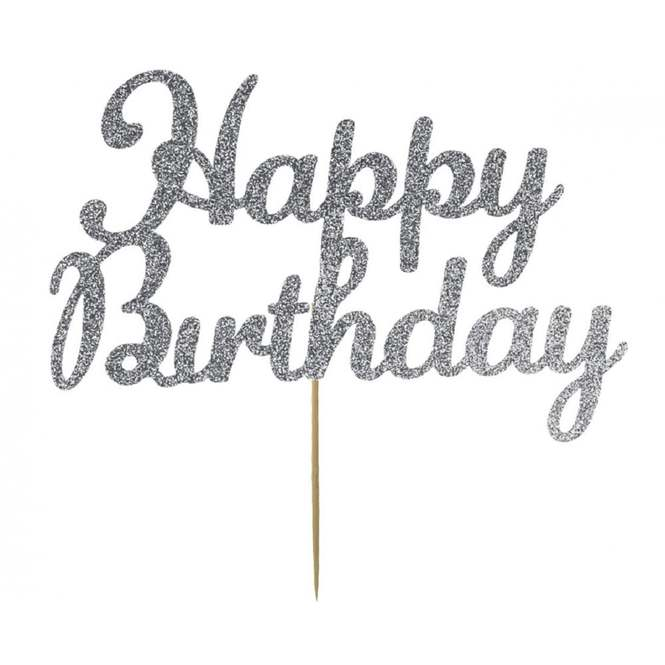 Kelsi Marsh Silver Happy Birthday Glitter Cake Topper Pick From 3 27