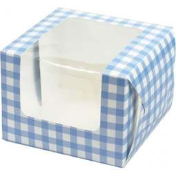 View the 5 BLUE GINGHAM cupcake boxes & inserts - hold 1 online at Cake Stuff