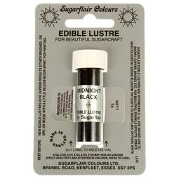 View the MIDNIGHT BLACK Edible Lustre icing dusting colour 2g online at Cake Stuff