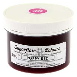 View the POPPY RED Tartranil icing paste colouring BULK 400g online at Cake Stuff