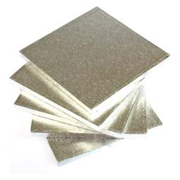 "View the 10"" (5 pack) square silver thick cake boards / drums online at Cake Stuff"
