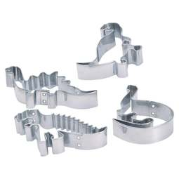 View the set 4 stainless steel dinosaur cookie icing cutters online at Cake Stuff