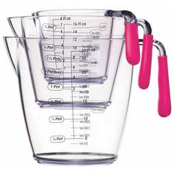 View the set of 3 acrylic measuring jugs (pink) online at Cake Stuff