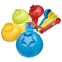 View the Miniamo kids' 8 piece measuring cups / spoons set (blue & bright) online at Cake Stuff