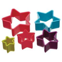 View the 5 piece plastic STAR shaped icing / cookie cutter set online at Cake Stuff