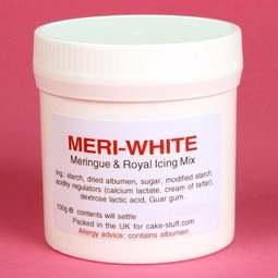 View the 100g MERI-WHITE dried albumen, meringue & royal icing mix online at Cake Stuff