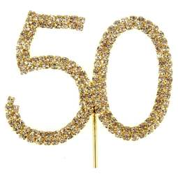 View the 50 - gold diamante cake / cupcake pick online at Cake Stuff