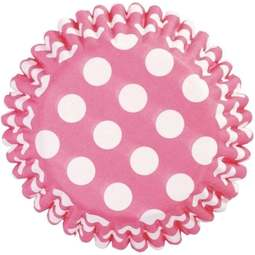 View the CERISE HOT PINK POLKA DOT cupcake cases pk 50 online at Cake Stuff