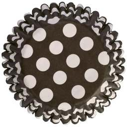 View the BLACK & WHITE POLKA DOT cupcake cases pk 50 online at Cake Stuff