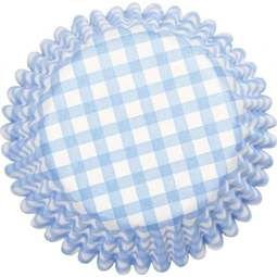 View the BLUE GINGHAM cupcake baking cases pk 50 online at Cake Stuff