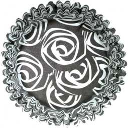 View the **CLEARANCE** BLACK & WHITE ROSES cupcake baking cases pk 50 online at Cake Stuff