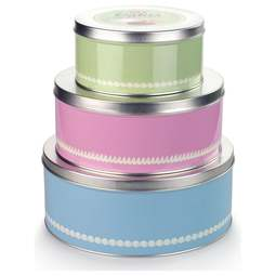 View the set of 3 traditional 1960s retro cake & biscuit storage tins online at Cake Stuff