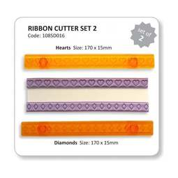 View the Ribbon Cutter set 2 - hearts & diamonds icing cutters online at Cake Stuff