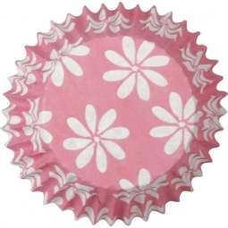 View the **CLEARANCE** PINK DAISY FLOWER SMALL cupcake baking cases pk 50 online at Cake Stuff