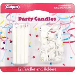 View the 12 WHITE cake candles with holders online at Cake Stuff