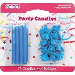 View the 12 BLUE cake candles with holders online at Cake Stuff