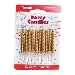 View the 10 GOLD spiral cake candles with holders online at Cake Stuff