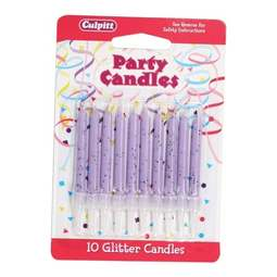 View the 10 LILAC GLITTER cake candles with holders online at Cake Stuff