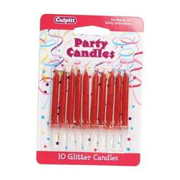 View the 10 RED GLITTER cake candles with holders online at Cake Stuff