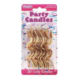 View the 20 CURLY GOLD cake candles online at Cake Stuff