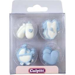 View the pk 12 BLUE BABY DESIGNS edible icing pipings cake cupcake decorations online at Cake Stuff