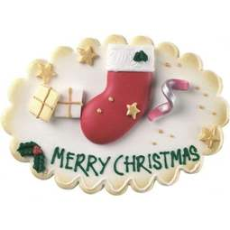 View the large CHRISTMAS STOCKING edible icing plaque cake decoration online at Cake Stuff