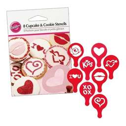 View the 8 mini love / valentine designs cupcake & cookie icing stencil set online at Cake Stuff