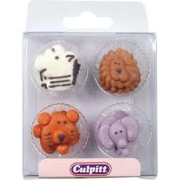 View the pk 12 ANIMAL FACES edible icing pipings cake cupcake decorations online at Cake Stuff