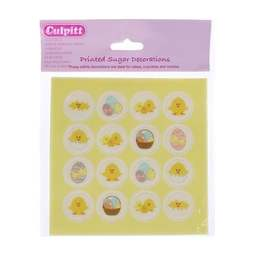View the pk 16 EASTER EGGS & CHICKS edible icing cake cupcake decorations online at Cake Stuff