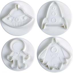 View the SPACE 4 piece icing plunger cutter set online at Cake Stuff