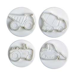 View the CONSTRUCTION VEHICLE 4 piece icing plunger cutter set online at Cake Stuff