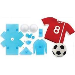 View the Soccer / Football Shirt & Ball 9 piece icing cutter & former set online at Cake Stuff