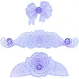 View the Elegant Range bow, rose & scrolls icing cutter set online at Cake Stuff