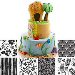 View the Hawaiian icing texture sheet impression mat 6 pc set online at Cake Stuff