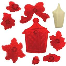View the Christmas Lantern, Flowers & Foliage 9 pc icing cutter set  online at Cake Stuff