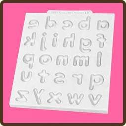 View the Domed Alphabet lower case design mat silicone sugarcraft mould online at Cake Stuff