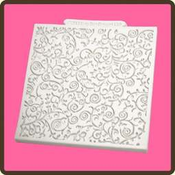 View the Romantic Swirl design mat silicone sugarcraft mould online at Cake Stuff