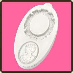 View the Oval Cameo & Frame 1 - Miniature Frames silicone sugarcraft mould online at Cake Stuff