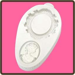 View the Oval Cameo & Frame 2 - Miniature Frames silicone sugarcraft mould online at Cake Stuff