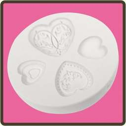 View the Elegant Hearts 4 pc silicone sugarcraft mould set online at Cake Stuff