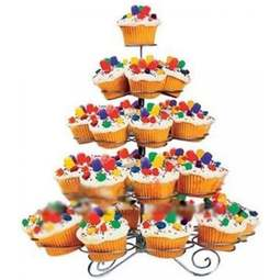 View the 5 tier silver wire cupcake stand - holds 41 cup cakes online at Cake Stuff