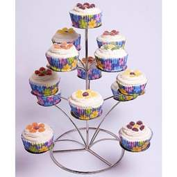 View the **PROMO** 4 tier silver / chrome metal cupcake stand - holds 13 cup cakes online at Cake Stuff