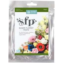 View the HOLLY IVY dark green Sugar Florist Paste SFP flower modelling paste 100g online at Cake Stuff