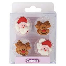 View the pk 12 SANTA & RUDOLPH edible icing pipings cake cupcake decorations online at Cake Stuff
