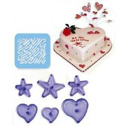 View the Funky Hearts & Stars 7 piece icing cutter & stencil set online at Cake Stuff