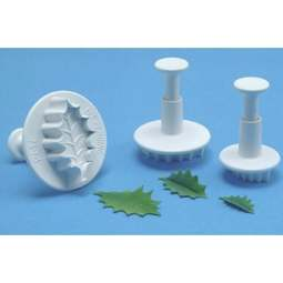 View the XL Holly Leaf 3 piece plunger icing cutter set online at Cake Stuff